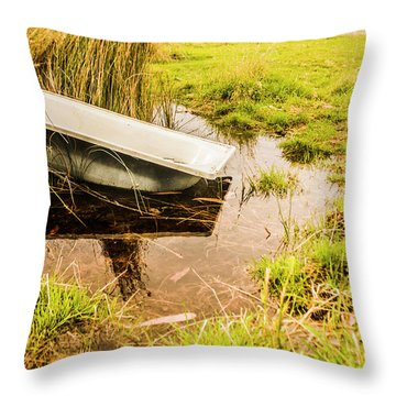 Water Troughs And Outback Farmland Throw Pillow