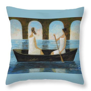 Throw Pillow featuring the painting Water Under The Bridge by Glenn Quist
