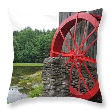 Water Wheel Vermont Throw Pillow by Edward Fielding