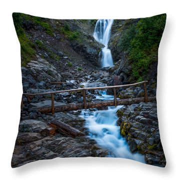 Waterall And Bridge Throw Pillow by Chris McKenna