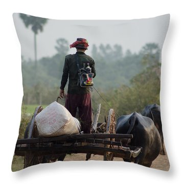 Throw Pillow featuring the photograph Waterbuffalo Driver With Angry Birds Tote Bag by Jason Rosette