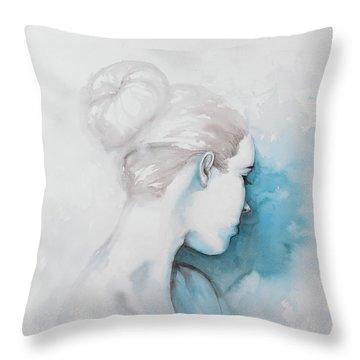 Watercolor Abstract Girl With Hair Bun Throw Pillow
