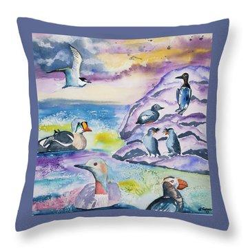 Watercolor - Alaska Seabird Gathering Throw Pillow