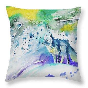 Watercolor - Arctic Fox Throw Pillow