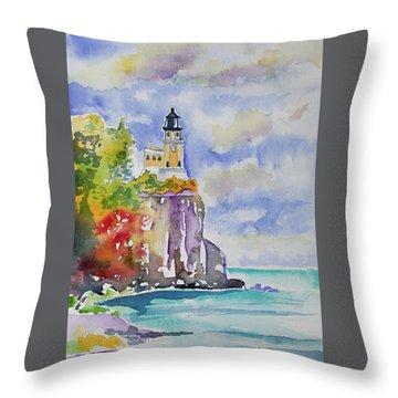 Watercolor - Autumn At Split Rock Lighthouse Throw Pillow