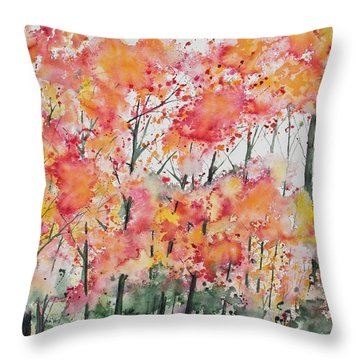 Watercolor - Autumn Forest Throw Pillow