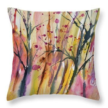 Watercolor - Autumn Forest Impression Throw Pillow