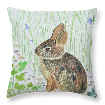 Watercolor - Baby Bunny Throw Pillow