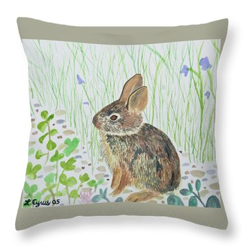 Throw Pillow featuring the painting Watercolor - Baby Bunny by Cascade Colors