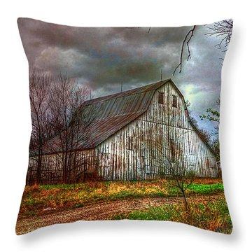Watercolor Barn 2 Throw Pillow by Karen McKenzie McAdoo