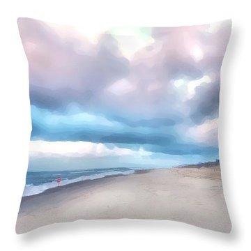 Watercolor Beach Throw Pillow