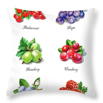 Watercolor Berries Illustration Collection I Throw Pillow