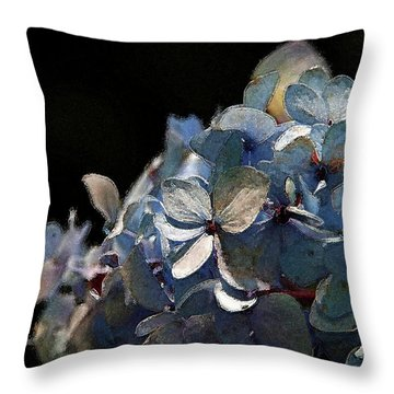 Watercolor Blue Hydrangea Blossoms 1203 W_2 Throw Pillow