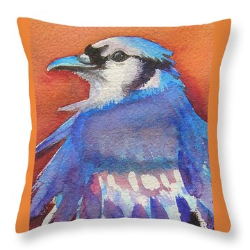 Watercolor Blue Jay Throw Pillow by Patricia Piffath
