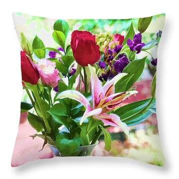 Watercolor Bouquet Throw Pillow