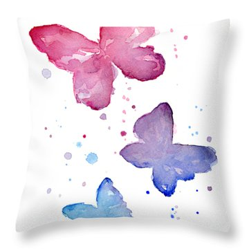 Watercolor Butterflies Throw Pillow