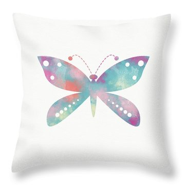 Watercolor Butterfly 3-art By Linda Woods Throw Pillow