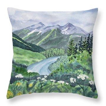 Watercolor - Colorado Summer Landscape Throw Pillow
