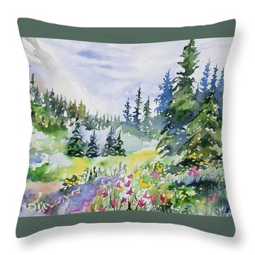 Throw Pillow featuring the painting Watercolor - Colorado Summer Scene by Cascade Colors