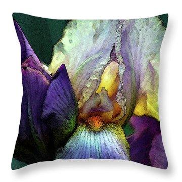 Watercolor Cream And Purple Bearded Iris With Bud 0065 W_2 Throw Pillow