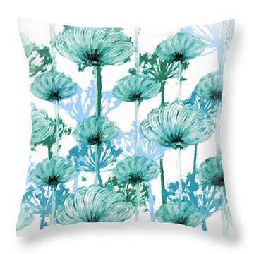 Throw Pillow featuring the digital art Watercolor Dandelions by Bonnie Bruno