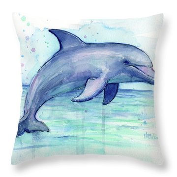 Watercolor Dolphin Painting - Facing Right Throw Pillow