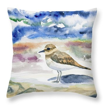 Watercolor - Double-banded Plover On The Beach Throw Pillow