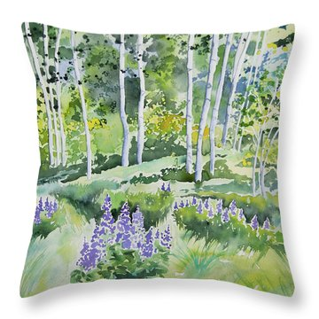 Watercolor - Early Summer Aspen And Lupine Throw Pillow