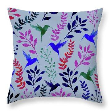 Watercolor Floral Birds Throw Pillow