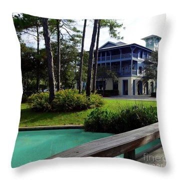 Watercolor Florida Throw Pillow by Megan Cohen