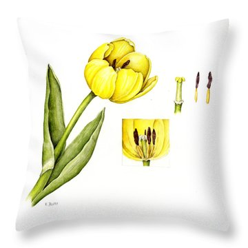 Watercolor Flower Yellow Tulip Throw Pillow