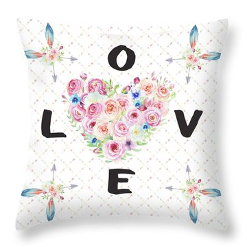 Throw Pillow featuring the painting Watercolor Flowers Arrows Love Typography by Georgeta Blanaru