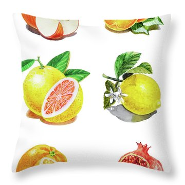 Watercolor Food Illustration Fruits Throw Pillow