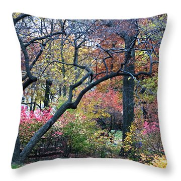 Watercolor Forest Throw Pillow by Lorraine Devon Wilke