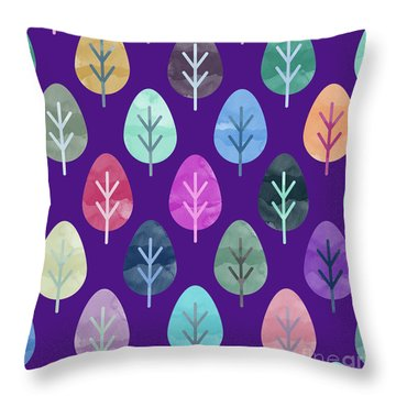 Watercolor Forest Pattern II Throw Pillow