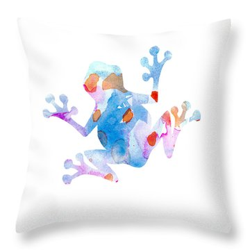 Watercolor Frog Throw Pillow by Nursery Art