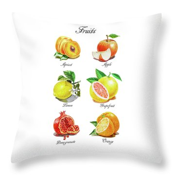 Watercolor Fruit Illustration Collection I Throw Pillow