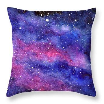 Watercolor Galaxy Pink Nebula Throw Pillow