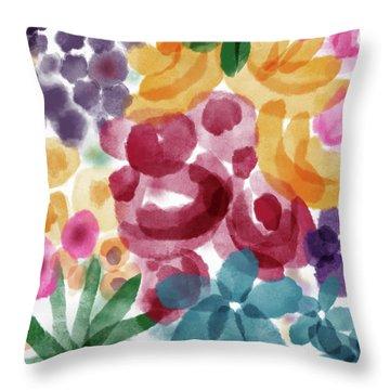 Watercolor Garden Flowers- Art By Linda Woods Throw Pillow