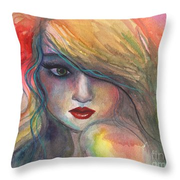 Watercolor Girl Portrait With Flower Throw Pillow