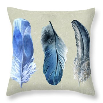 Watercolor Hand Painted Feathers Throw Pillow by Heinz G Mielke