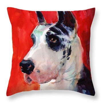 Watercolor Harlequin Great Dane Dog Portrait 2  Throw Pillow