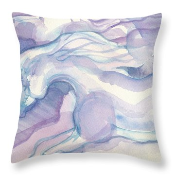 Watercolor Horses II Throw Pillow by Linda Kay Thomas