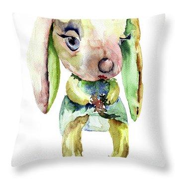 Watercolor Illustration Of Rabbit Throw Pillow