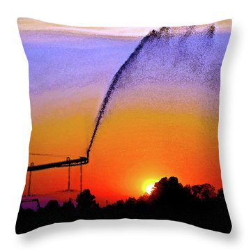 Watercolor Irrigation Sunset 3243 W_2 Throw Pillow