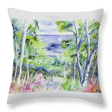 Throw Pillow featuring the painting Watercolor - Lake Superior Impression by Cascade Colors