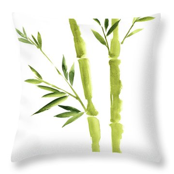 Bamboo Stick Wall Paper Art, Watercolor Living Room Decor Illustration, Green Bamboo Leaves Painting Throw Pillow