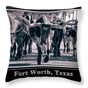 Watercolor Longhorns 2015 Throw Pillow