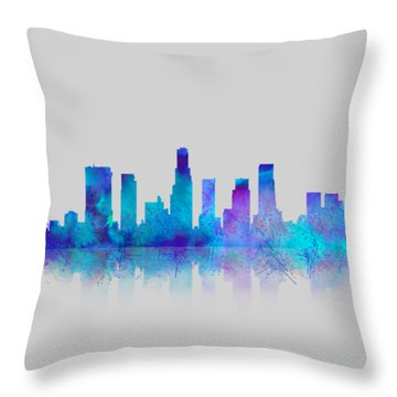 Throw Pillow featuring the digital art Watercolor Los Angeles Skylines On An Old Paper by Georgeta Blanaru
