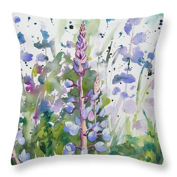 Watercolor - Lupine Wildflowers Throw Pillow